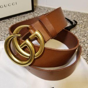 Gucci Leather Brown Logo GG 1.5""